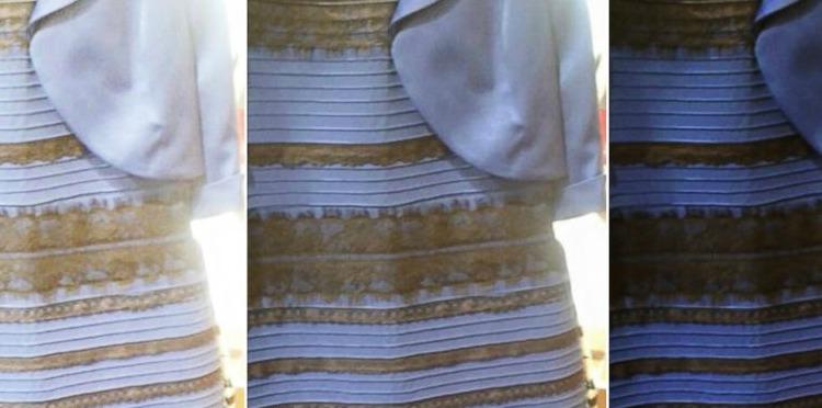 vestido negro y azul o blanco y dorado ok