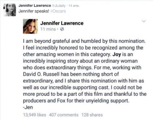 Jennifer Lawrence Óscar
