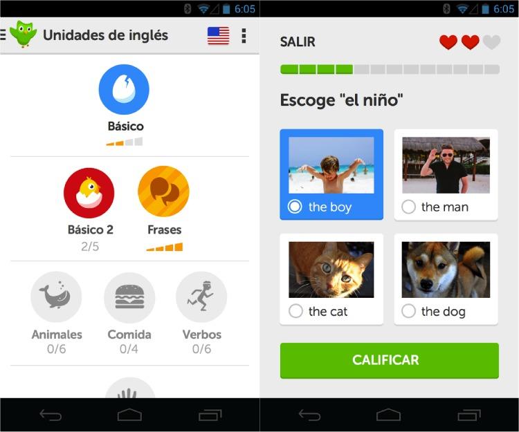 Aplicaciones gratuitas para aprender inglés Duolinguo
