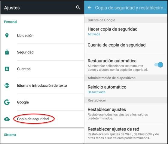 cómo hacer copia de seguridad android