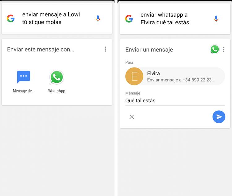 enviar mensajes con ok google