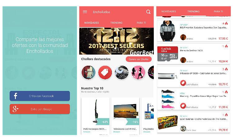 Captura pantalla app Enchollados
