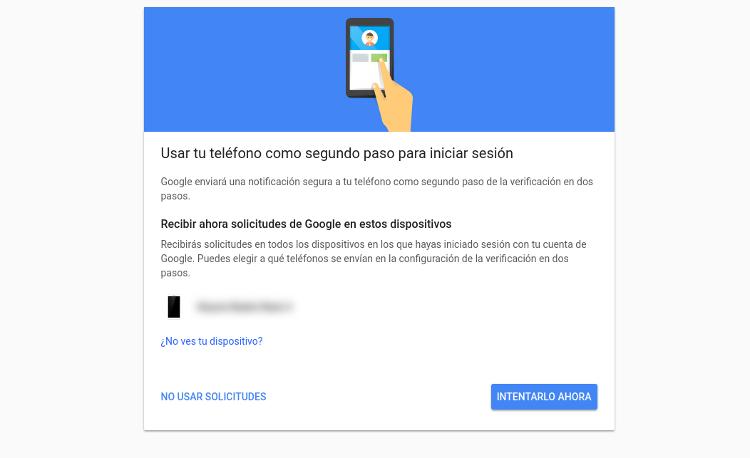 segundo paso para iniciar sesión Google