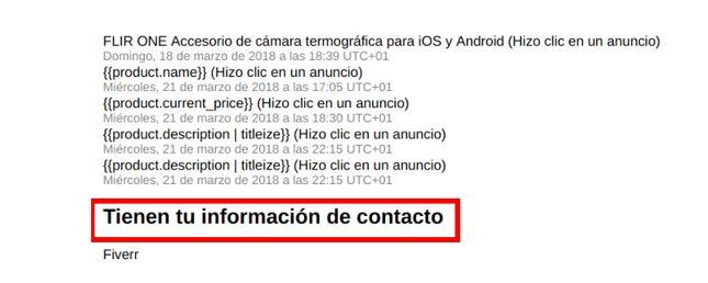 información de contacto de facebook