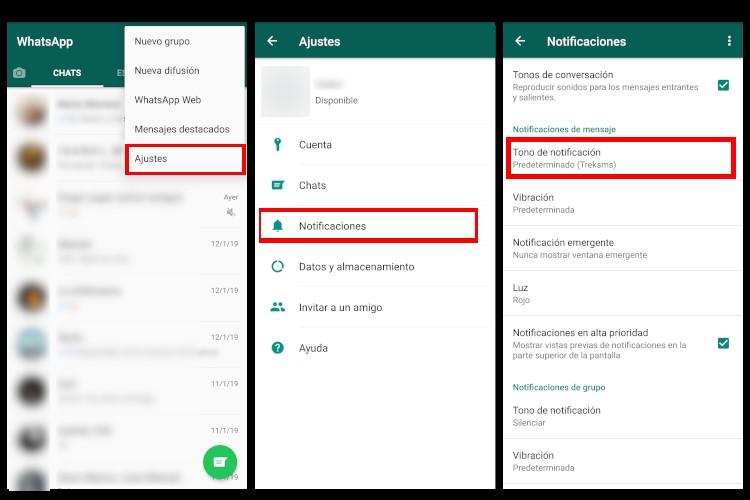 tutorial para cambiar el tono de las notificaciones de Whatsapp