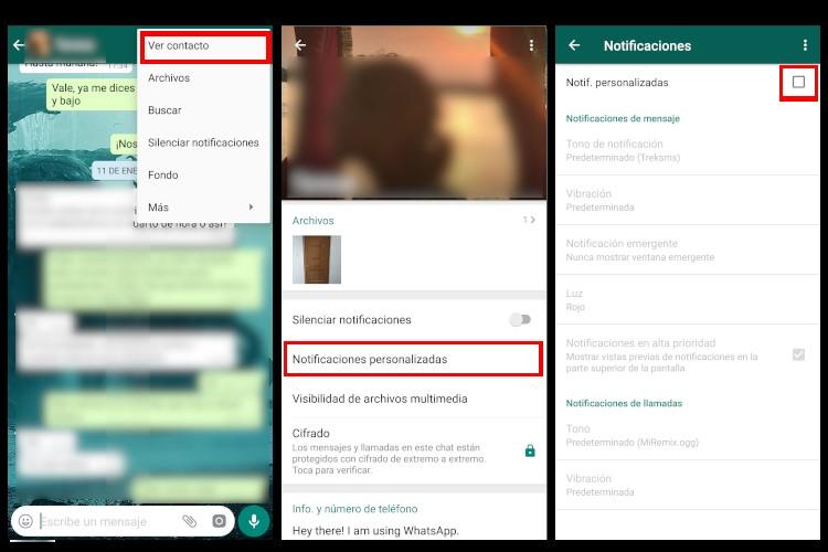 Tutorial para cambiar el tono de las notificaciones de un contacto de Whatsapp