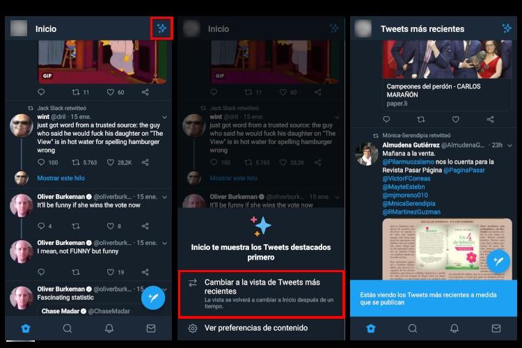 Activar orden cronologico de Twitter en app