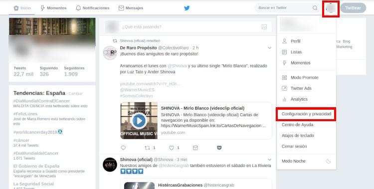 Activar orden cronologico en Twitter en web