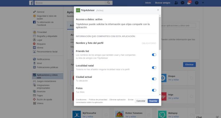 Controlar información privada en aplicaciones Facebook
