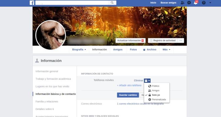 Datos personales en Facebook