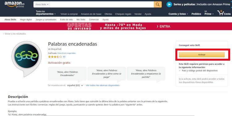 Instalar skills de Amazon