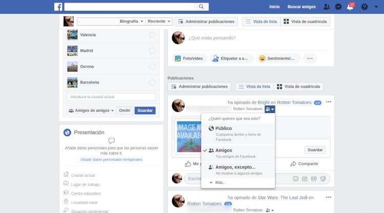 Privaciodad de publicaciones en Facebook