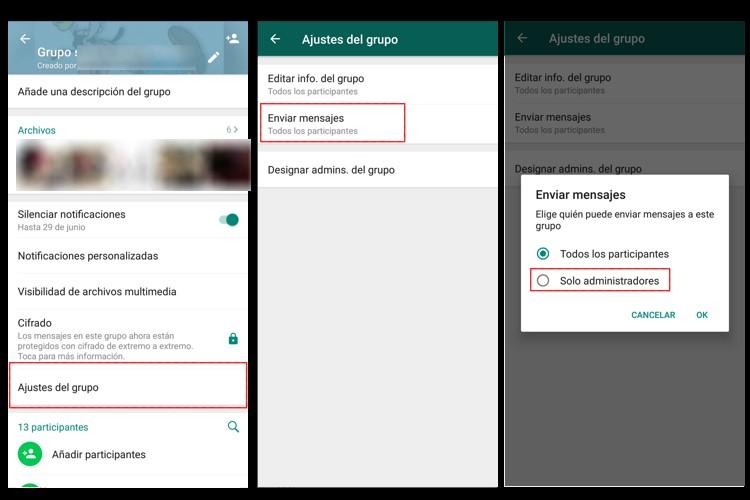 ajustes silenciar miembro grupo whatsapp