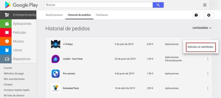Reembolso en Google Play