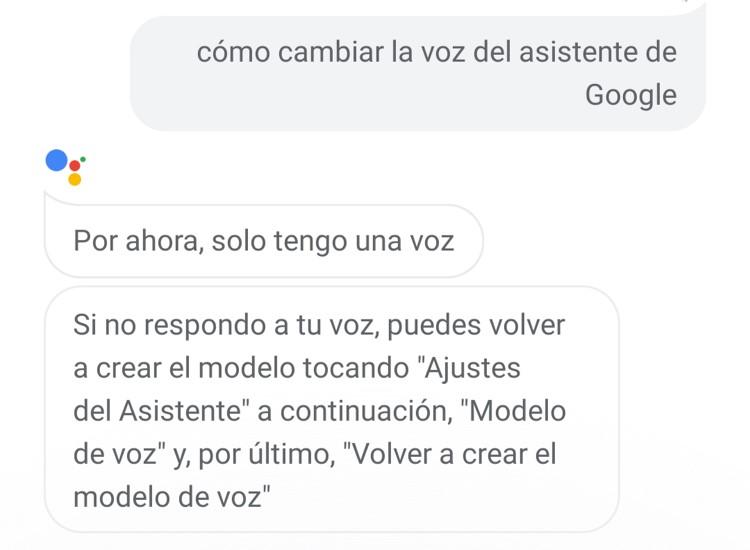 cambiar la voz de ok google