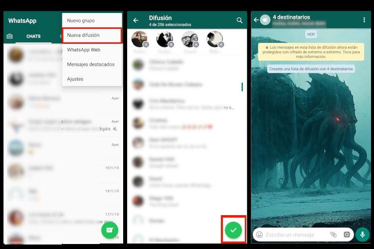 Crear listas de difusión en WhatsApp