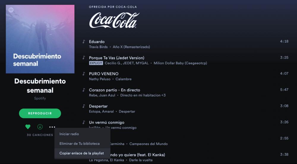 Copiar playlist de Spotify