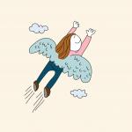 Persona volando con la velocidad de fibra